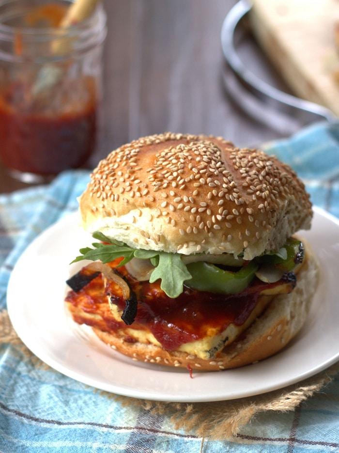 Maple Whiskey Barbecue Tofu Sandwich
