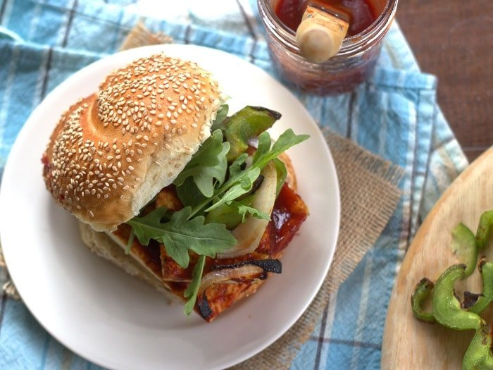 Maple Whiskey Barbecue Tofu Sandwich