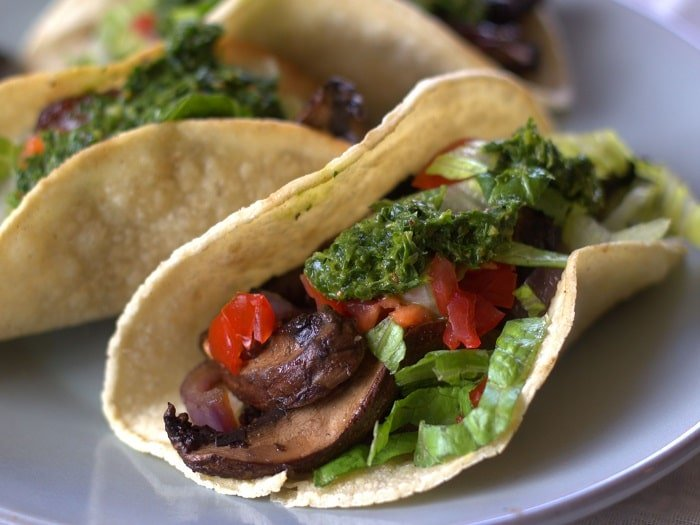 Roasted Portobello Tacos with Chimichurri Sauce