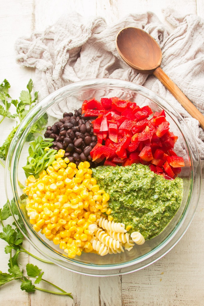 Ingredients for Southwest Pasta Salad Arranged in a Mixing Bowl