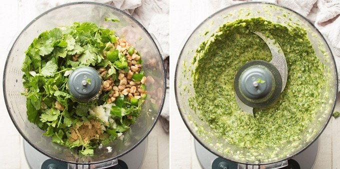 Side By Side Images Showing Dressing for Southwest Pasta Salad in a Food Processor Before and After Blending