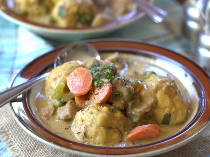 Rosemary Vegan Chicken and Dumplings Stew