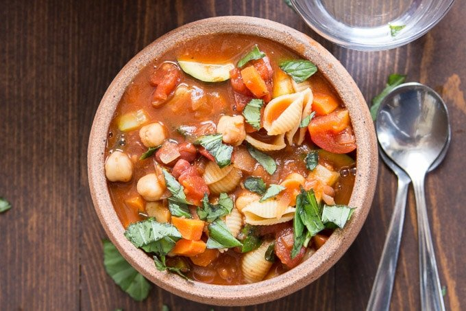 Vegan Minestrone Soup in a Clay Bowl