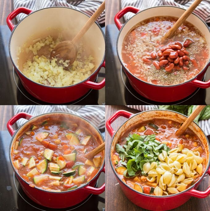 Collage Showing Steps to Make Vegan Minestrone Soup: Sweat Onions, Add Broth, Tomatoes Beans and Veggies, Add Zucchini, and Add Basil and Pasta