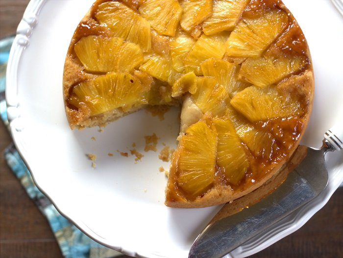 Sliced Vegan Pineapple Upside Down Cake