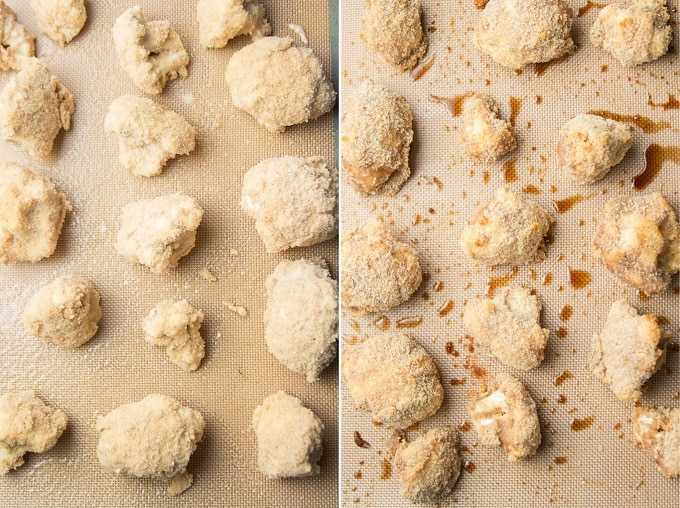 Two Images Showing Breaded Cauliflower on a Baking Sheet Before and After Baking