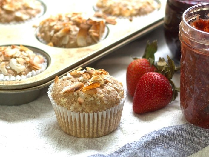 Toasted Coconut Chia Jam Stuffed Muffins