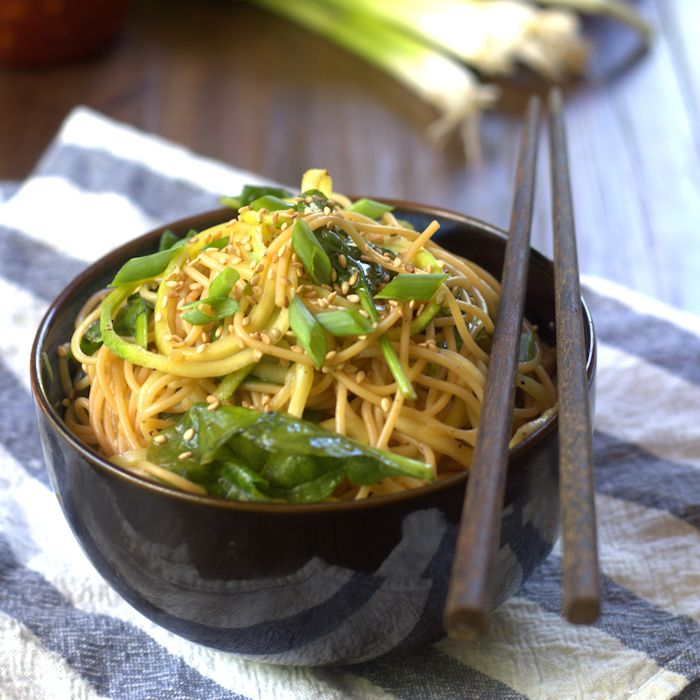 Spicy Sesame Noodles & Zucchini Noodles with Spinach