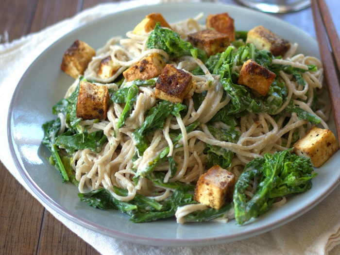 Soba Noodles with Tahini Sauce, Broccoli Rabe and Ginger Black Pepper Tofu