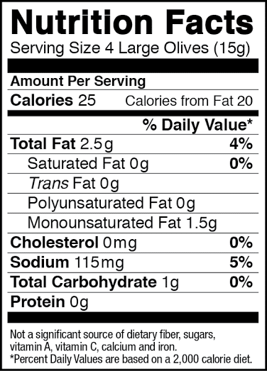 Large California Ripe Black Olive Nutrition Facts