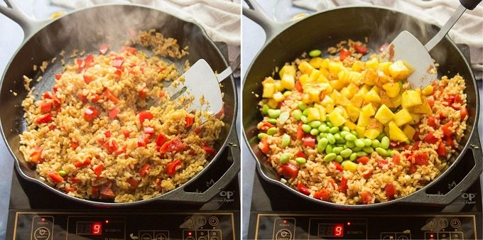 Collage Showing Steps 5-6 For Making Pineapple Fried Rice: Stir-Fry Rice, and Add Pineapple and Edamame