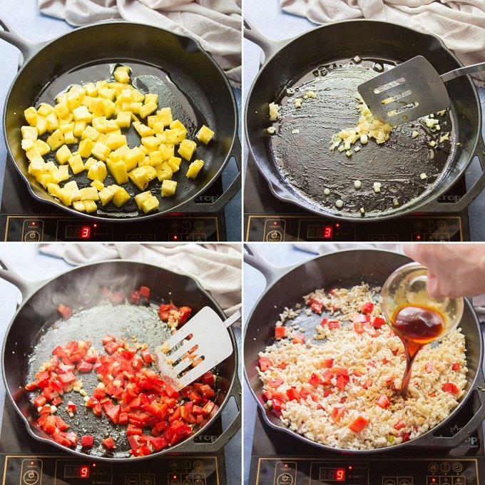 Collage Showing Steps 1-4 for Making Pineapple Fried Rice: Cook Pineapple, Cook Aromatics, Stir-Fry Bell Pepper, and Add Rice and Soy Sauce