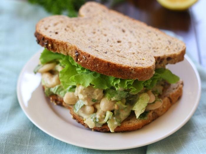 Smashed Bean Tahini Caesar Salad Sandwich