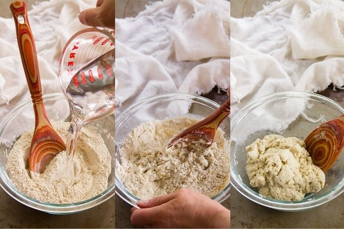 Collage Showing Steps For Forming a Dough to Make Seitan: Mix Water, Wheat Gluten and Chickpea Flour in a Bowl, Stir to Form a Dough, and Knead the Dough by Hand