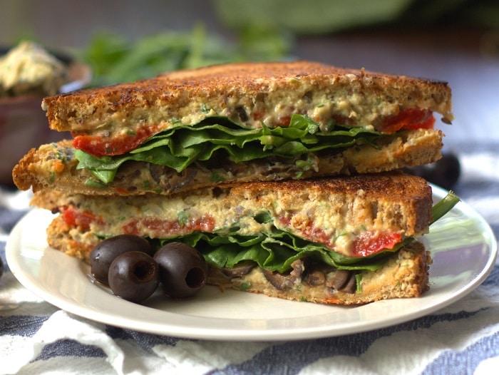 Grilled Mediterranean Black Olive Hummus Panini Sandwiches