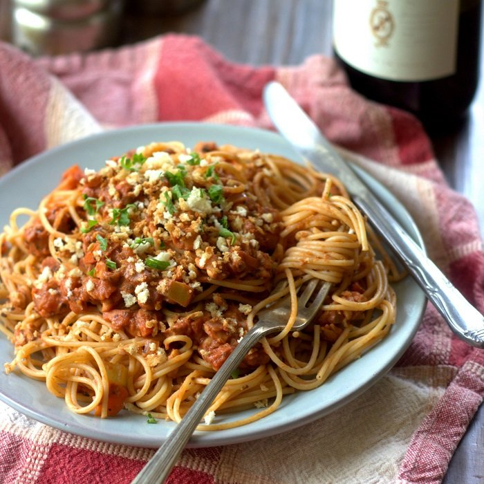 Spaghetti with Tempeh Vegan Ragù with Toasted Panko