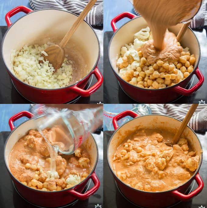 Collage Showing Steps for Making Vegan Tikka Masala: Sweat Onion, Add Chickpeas, Cauliflower and Sauce, Add Water, and Simmer