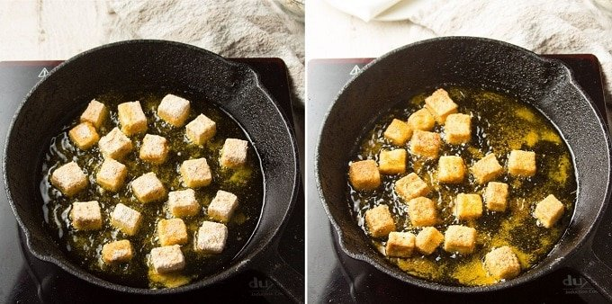 Side By Side Images Showing Two Stages of Cooking Cornmeal Crusted Tofu in a Skillet