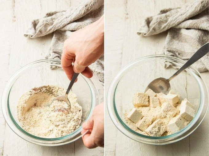 Side By Side Images Showing (1) Hand Mixing Cornmeal Breading Together in a Bowl, and (2) Tofu Cubes Added to the Bowl for Dredging