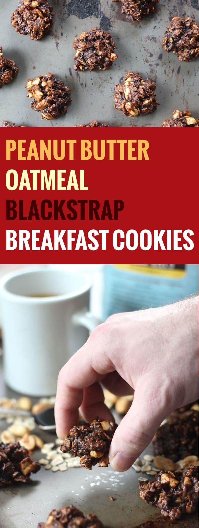 Peanut Butter Oatmeal Blackstrap Molasses Cookies