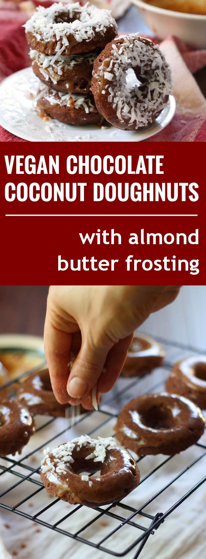 Coconut Almond Butter Frosted Vegan Chocolate Doughnuts