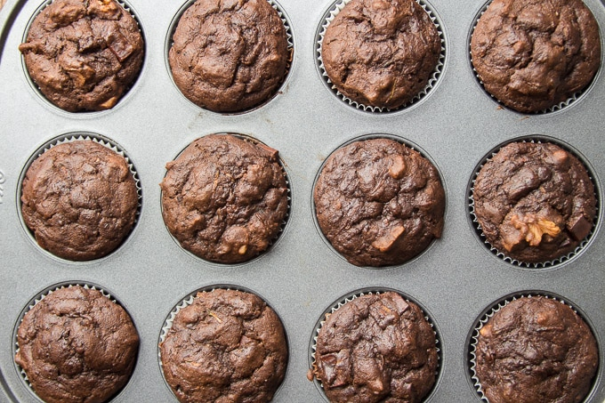 Vegan Chocolate Zucchini Muffins in a Tin