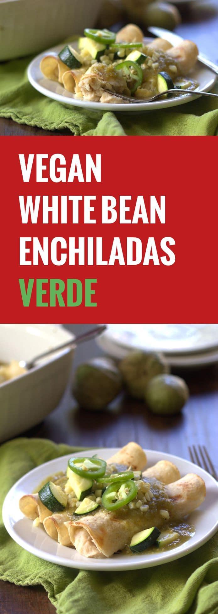 White Bean Enchiladas Verdes - Connoisseurus Veg