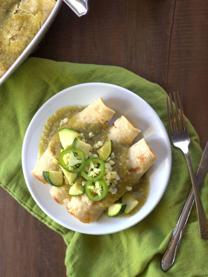 White Bean Enchiladas Verde with Garlic Roasted Corn and Zucchini