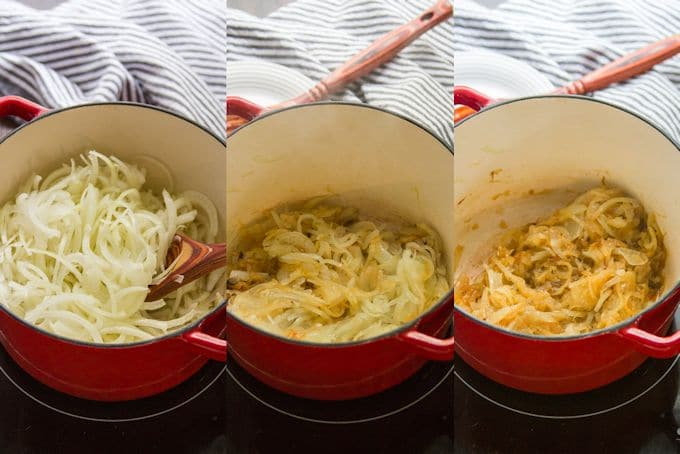 Collage Showing Three Stages of Onion Caramelization for Making Mujadara