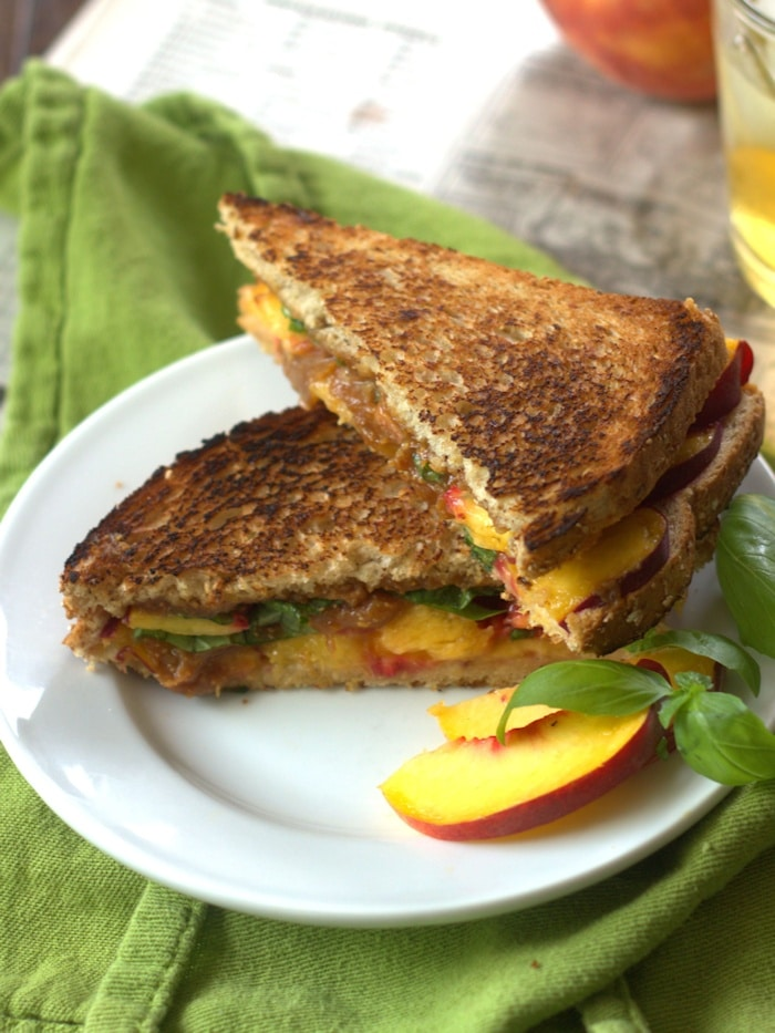 Grilled Peach Sandwich with Basil & Thai Peanut Sauce