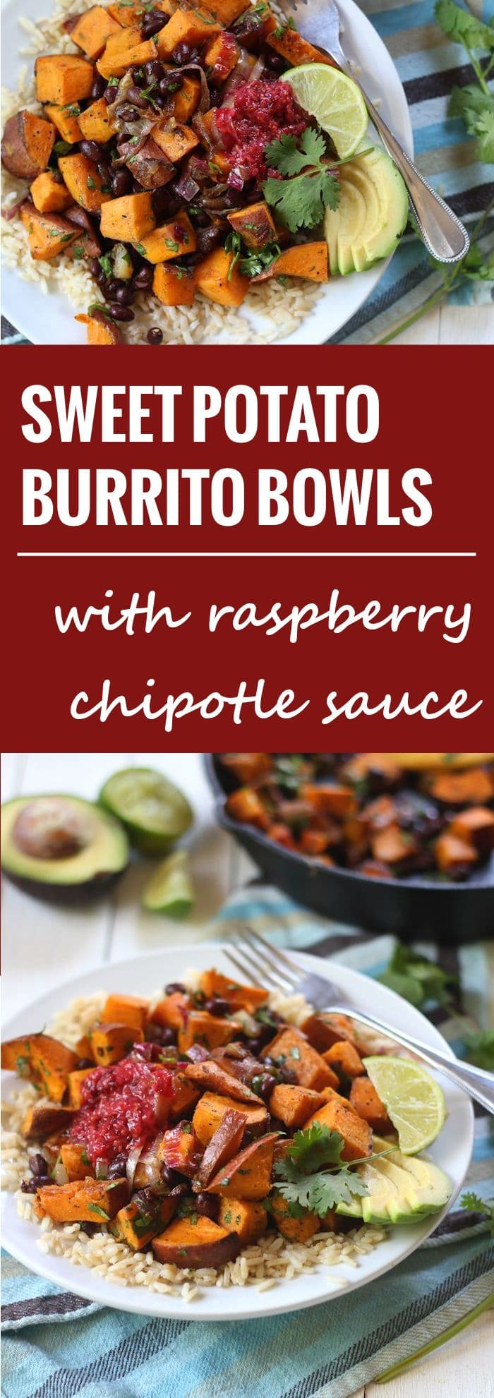Black Bean Sweet Potato Burrito Bowls with Raspberry Chipotle Sauce