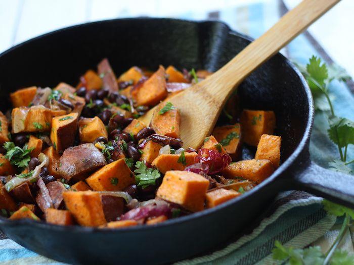 Black Bean Sweet Potato Burrito Bowls with Raspberry Chipotle Sauce
