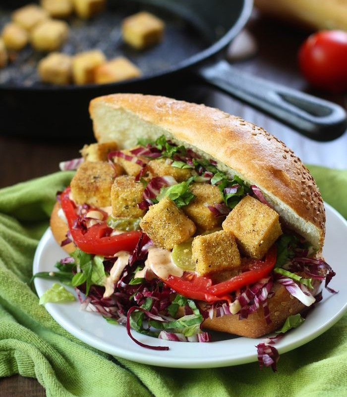 Vegan Po' Boy Sandwiches with Crispy Cornmeal Crusted Tofu