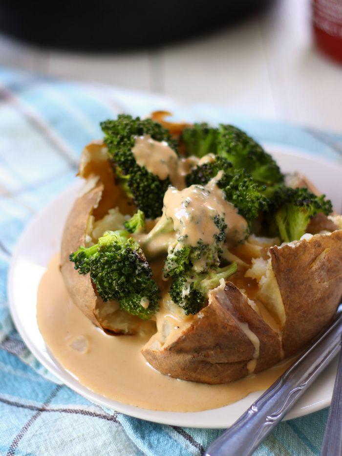 Garlic Roasted Broccoli Stuffed Potatoes with Tahini Cheese Sauce