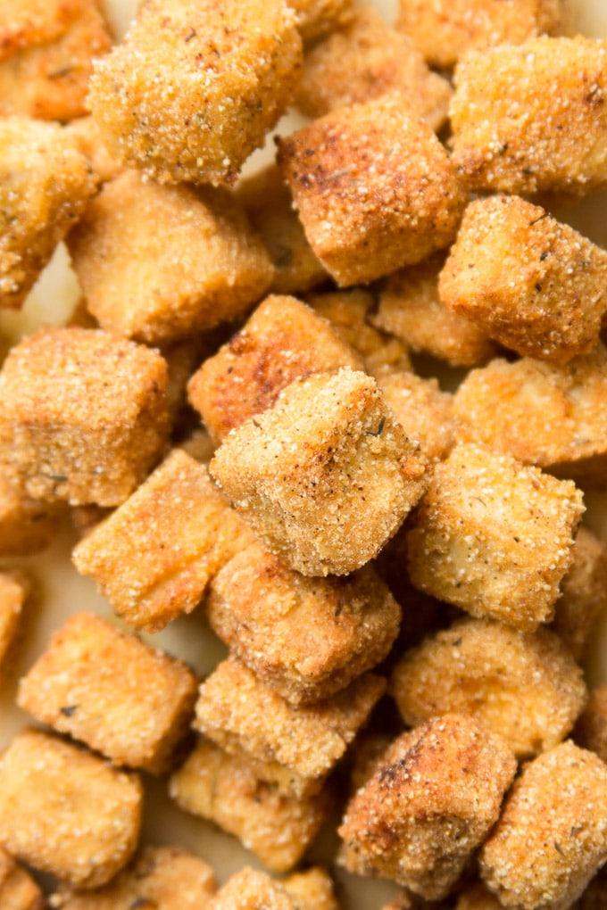Close Up of Crispy Cornmeal Tofu on a Plate