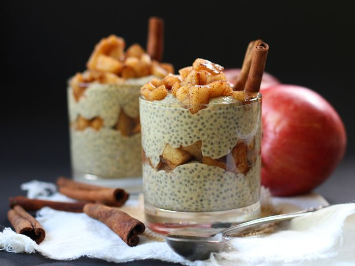 Peanut Butter Chia Pudding with Cinnamon Simmered Apples
