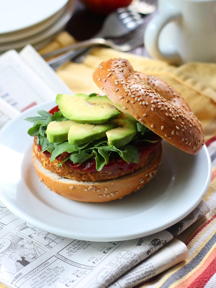 Smoky Apple Sage Chickpea Veggie Burgers (or Breakfast Sandwiches)