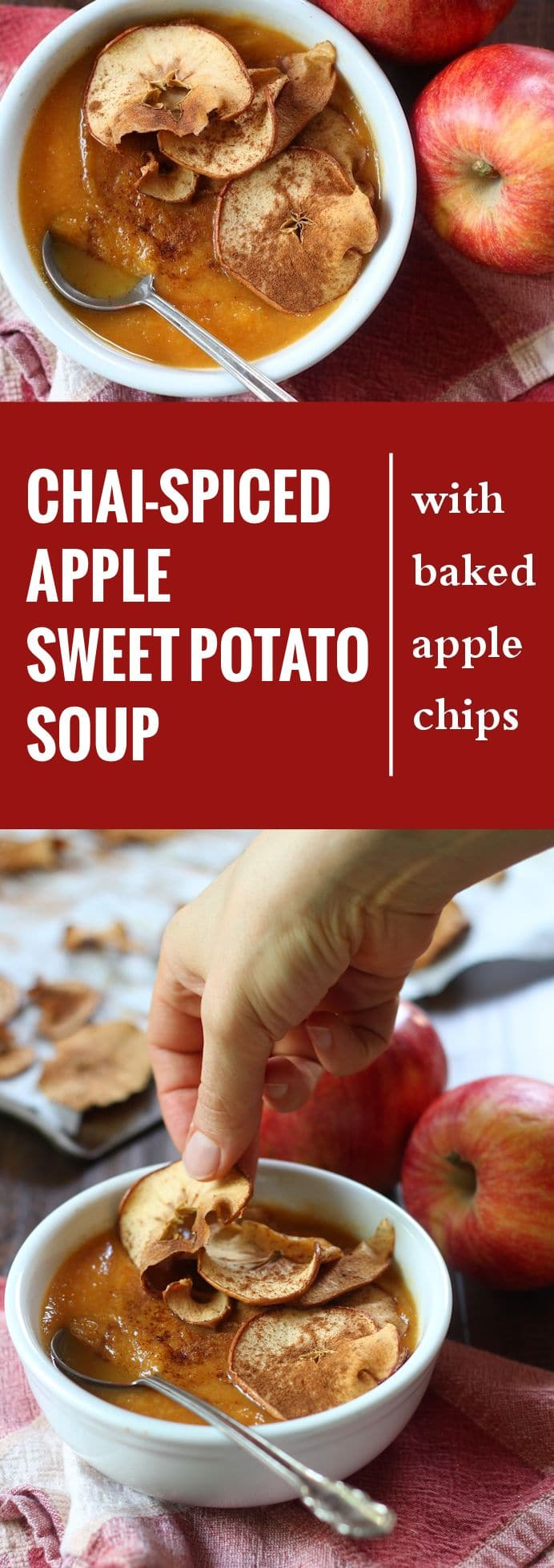 Chai-Spiced Apple Sweet Potato Soup with Apple Chips