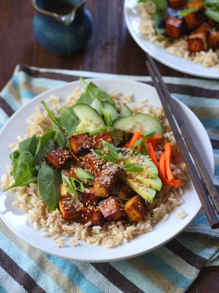 Baked Tofu Sushi Bowls with Tahini Wasabi Sauce