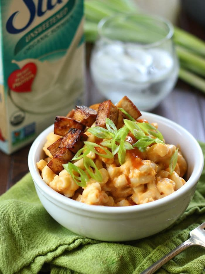Buffalo Butternut Mac with (or without) Tofu Bacon