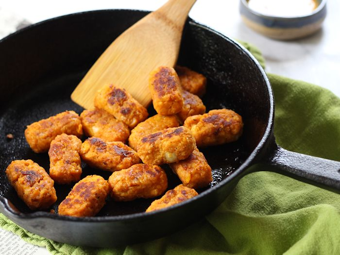 Butternut Tots with Spicy Maple Mustard