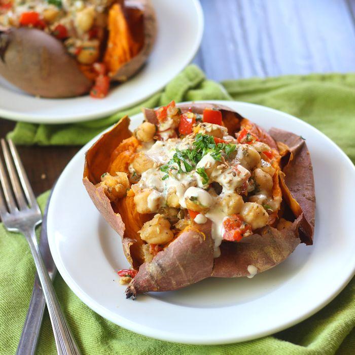 Chickpea Stuffed Sweet Potatoes - Connoisseurus Veg