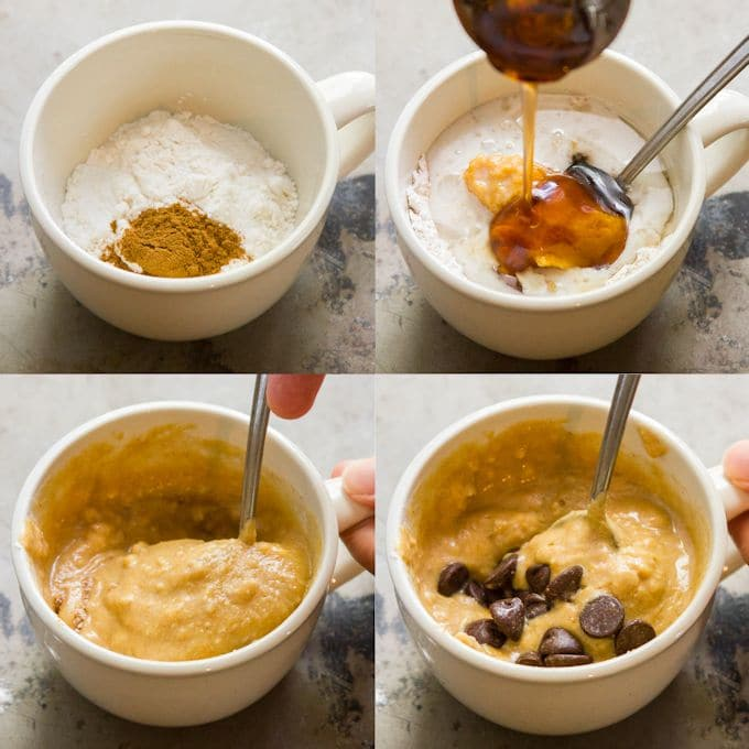 Collage Showing the Steps for Making Chocolate Chip Pumpkin Mug Cake: Mix Dry Ingredients, Add Wet Ingredients, Stir, Fold in Chocolate Chips, and Microwave