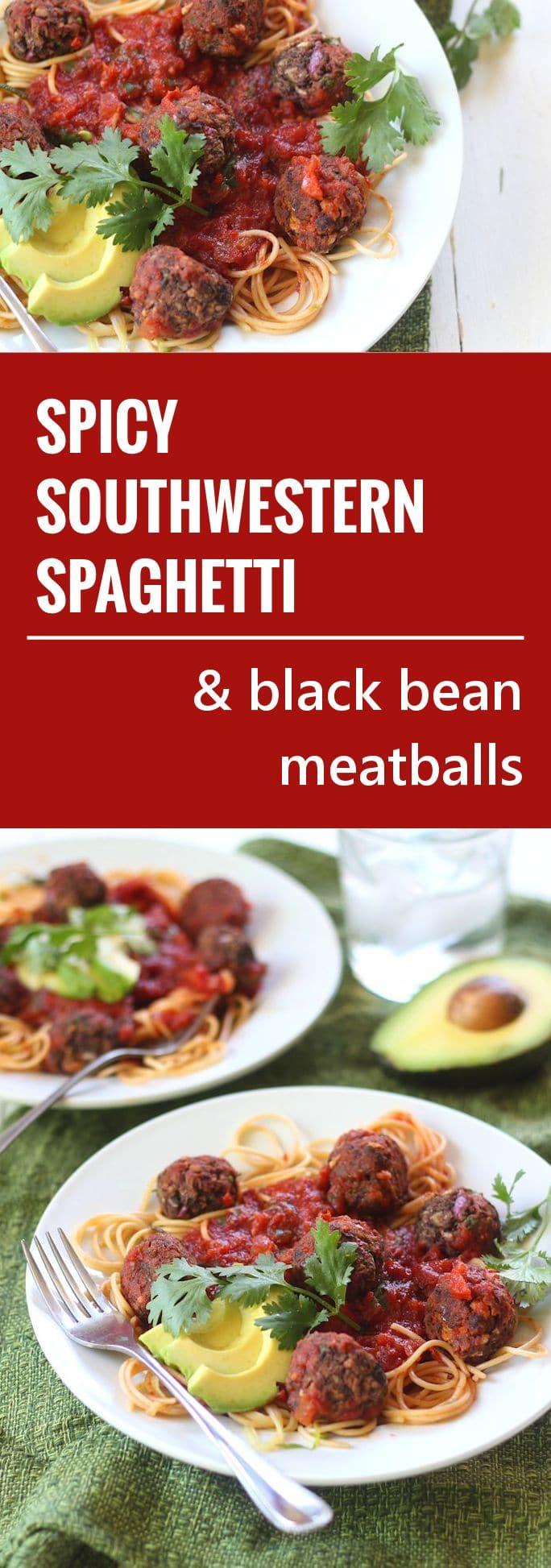 Spicy Southwestern Spaghetti with Avocado & Black Bean Meatballs