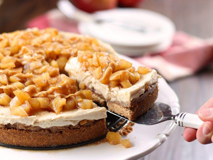 Caramel Apple Vegan No-Bake Cheesecake