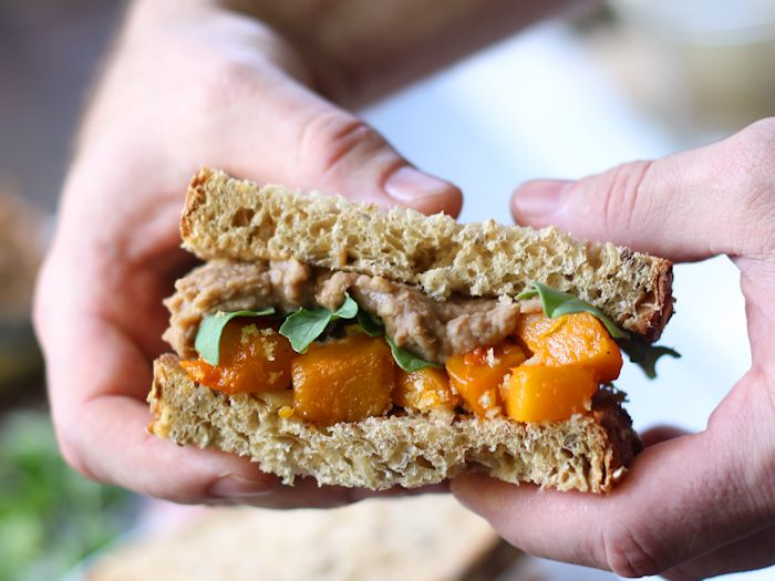 Roasted Butternut Squash Sandwiches with Balsamic White Bean Spread