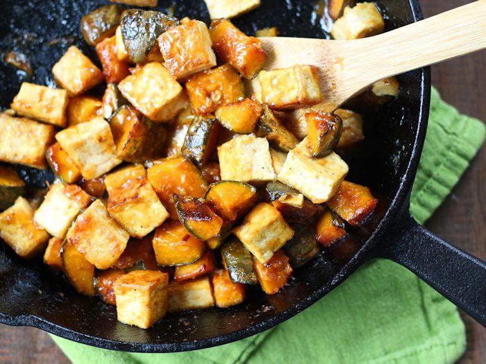 Gingery Cider-Glazed Tofu & Caramelized Squash with Peanuts
