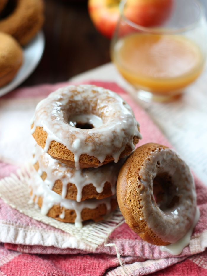 Vegan Gingerbread Doughnuts with Apple Cider Glaze