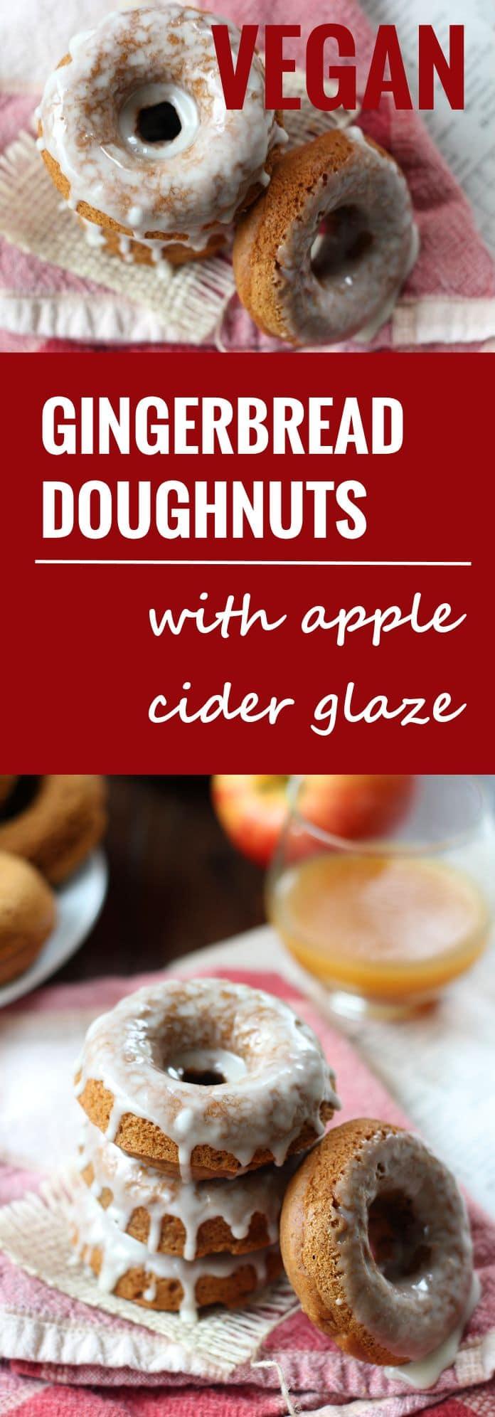 Vegan Gingerbread Doughnuts with Apple Cider Glaze