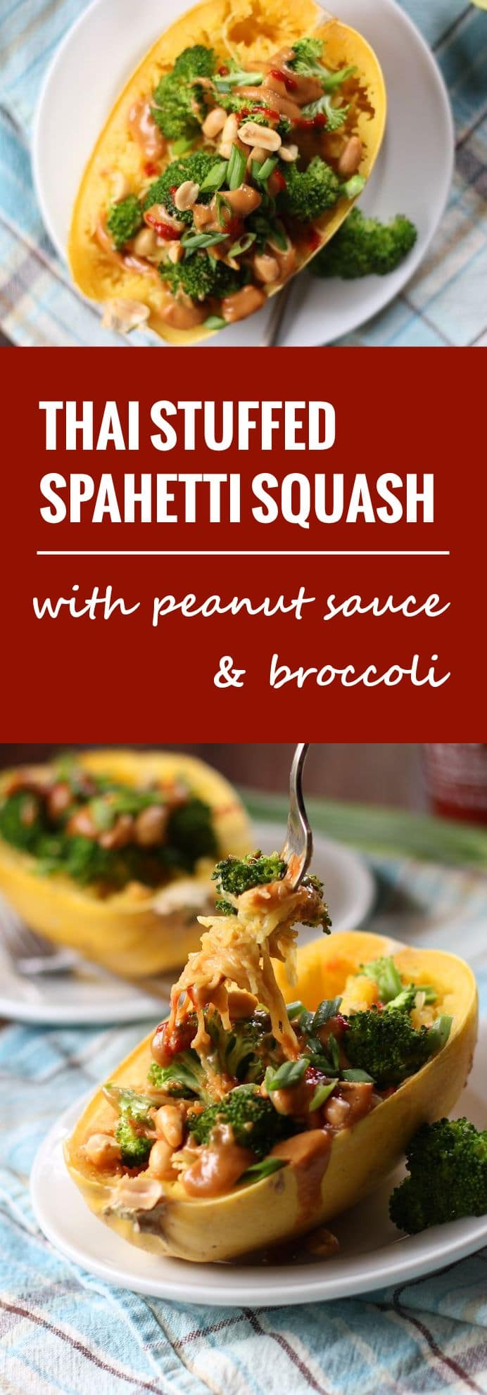 Thai Peanut & Broccoli Stuffed Spaghetti Squash
